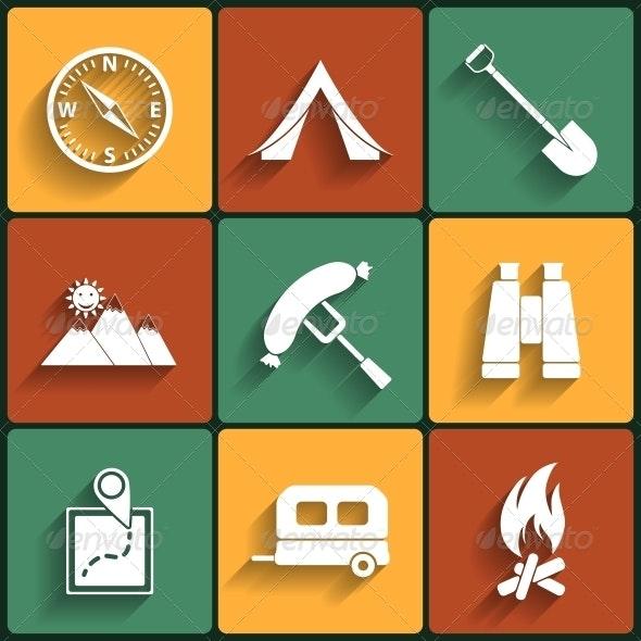 Camping Flat Vector Icons Set - Travel Conceptual