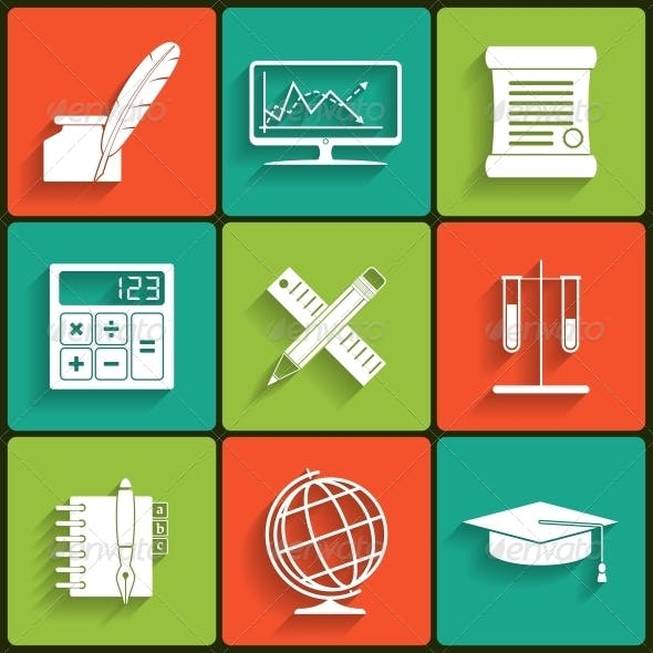 School and Education Vector Flat Icons Set