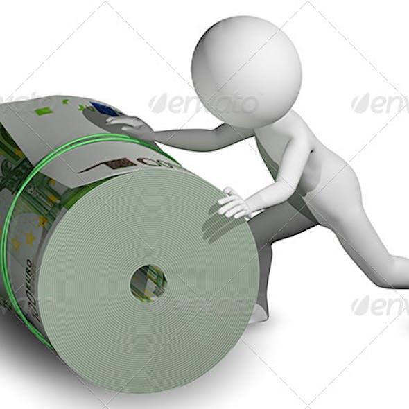 Man Rolls a Roll of Euros
