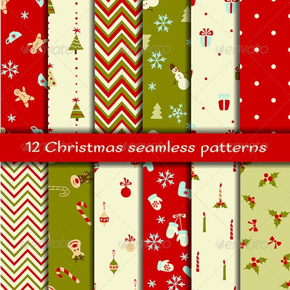Set of 12 Christmas Seamless Patterns
