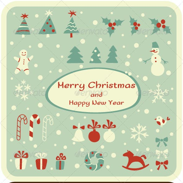 Set of Christmas Design Elements and Cards