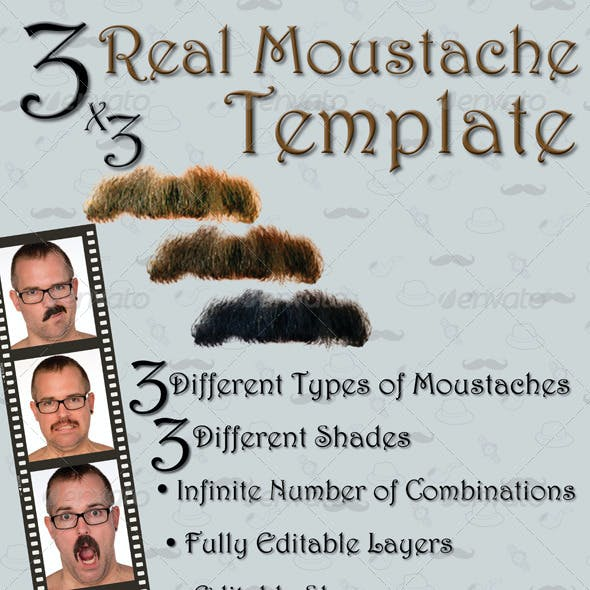 3 Real Moustache Template