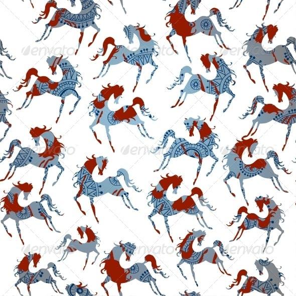 Horse Blue Seamless Pattern. Vector.