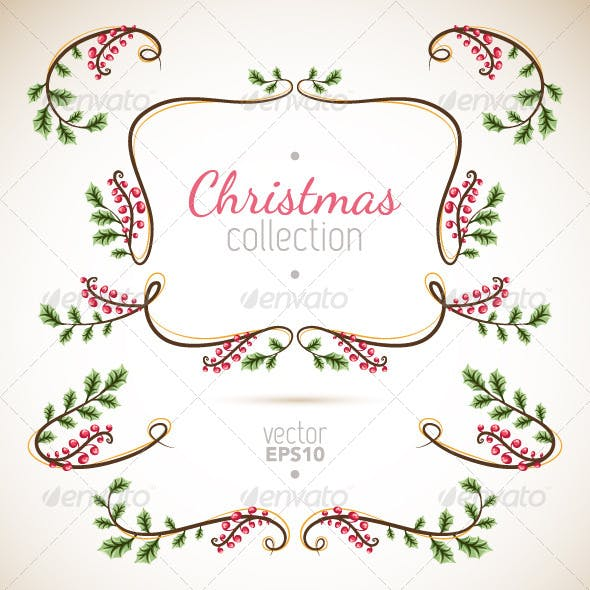 Holly Christmas Branches Elements