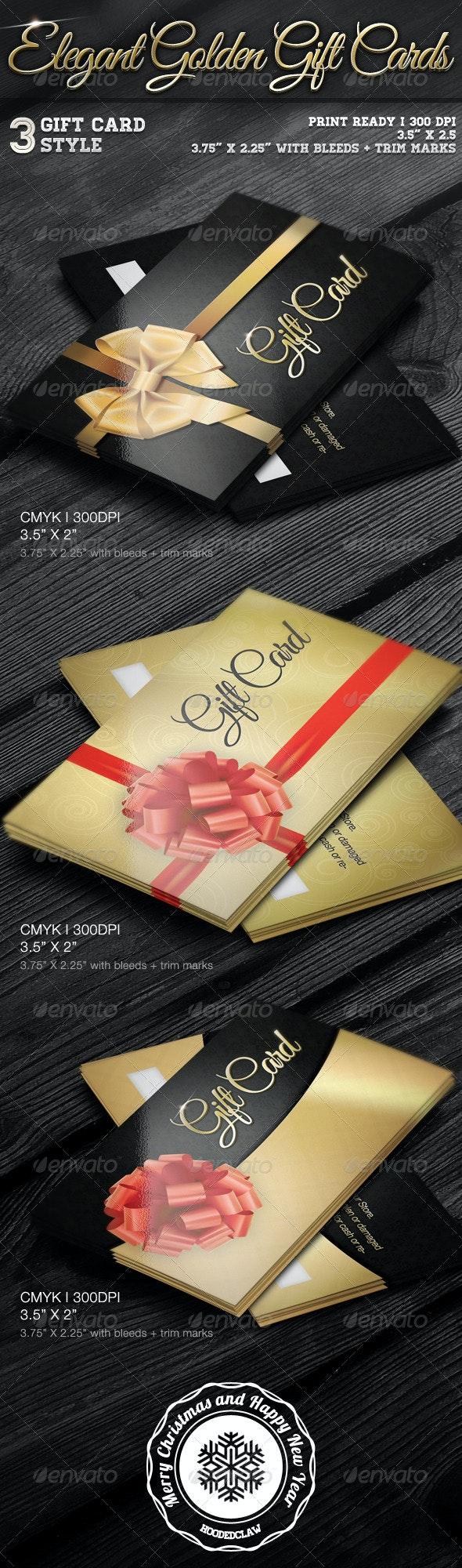 Elegant Golden Gift Cards - Loyalty Cards Cards & Invites