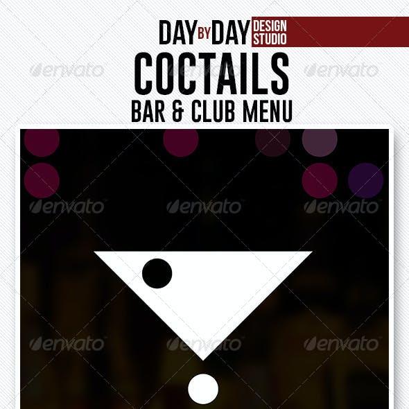 Coctails Bar & Club Menu