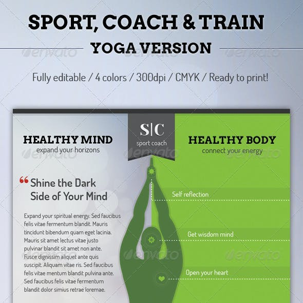 Sport Coach and Train Flyer - Yoga Version