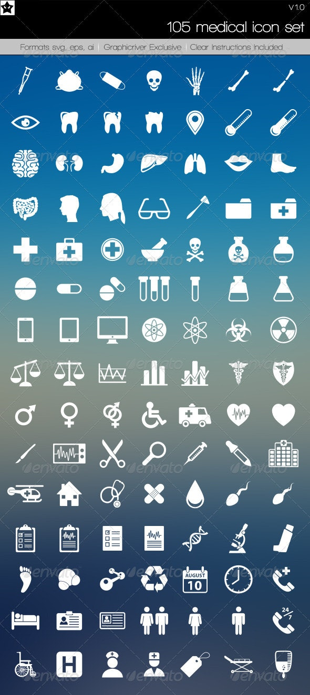 105 Medical Icons - Web Icons