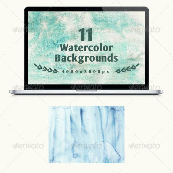 Set of 11 watercolor backgrounds
