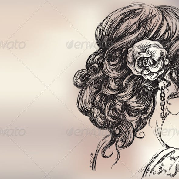Vector Drawing of a Girl, Bridal Hair