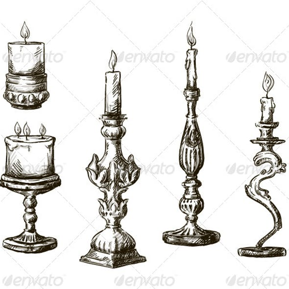 6 Hand Drawn Candles. Retro Candlesticks.