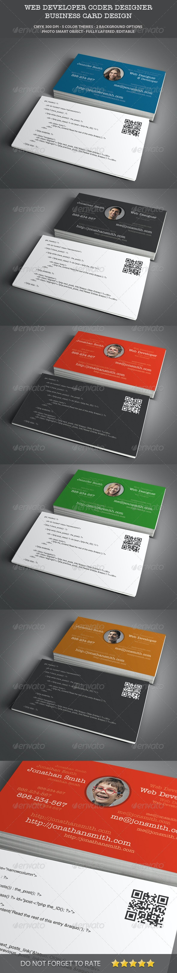 Web Designer & Developer Business Card Design - Industry Specific Business Cards