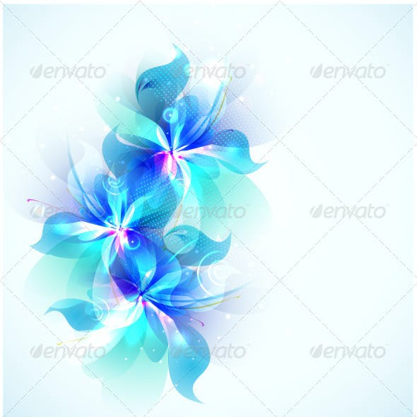 Abstract Blue Flowers
