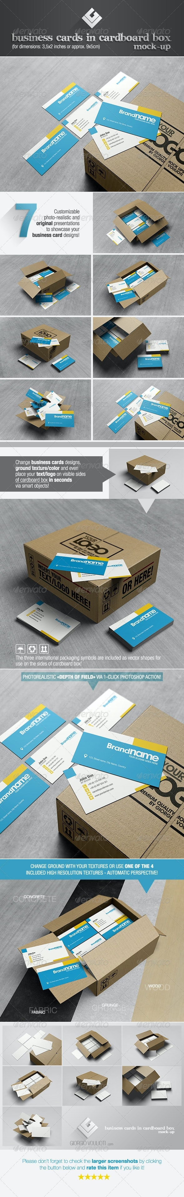 Business Cards in Cardboard Box Mock-Up - Business Cards Print