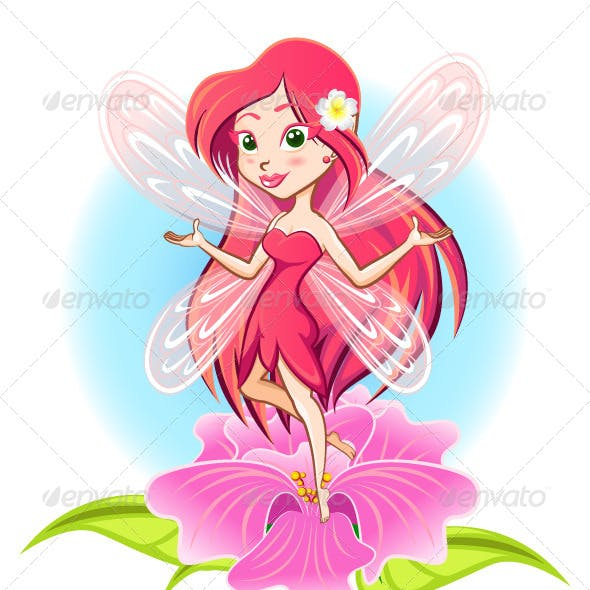 Fairy Princess Flying Above a Flower