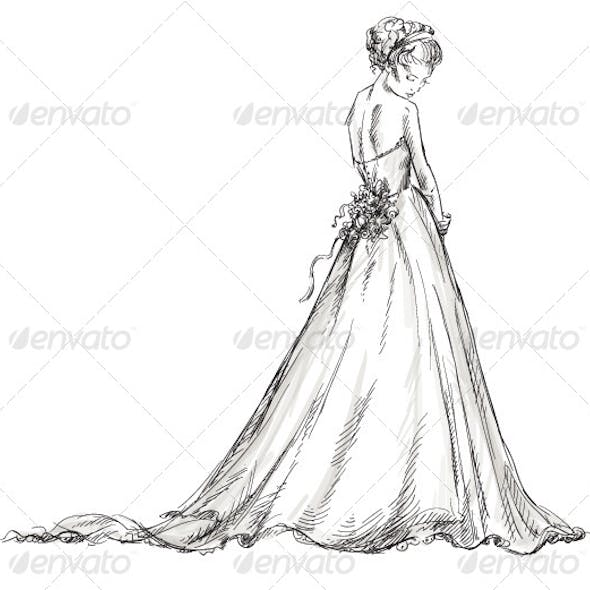 Bride. Girl in a Wedding Dress