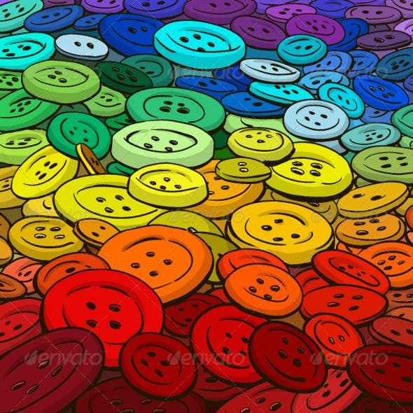 Colorful Buttons Background. Cartoon Style.