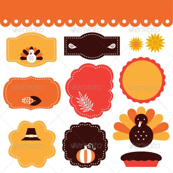 Thanksgiving Retro Tags and Elements Set