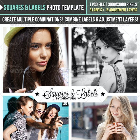 Squares & Labels Photo Template