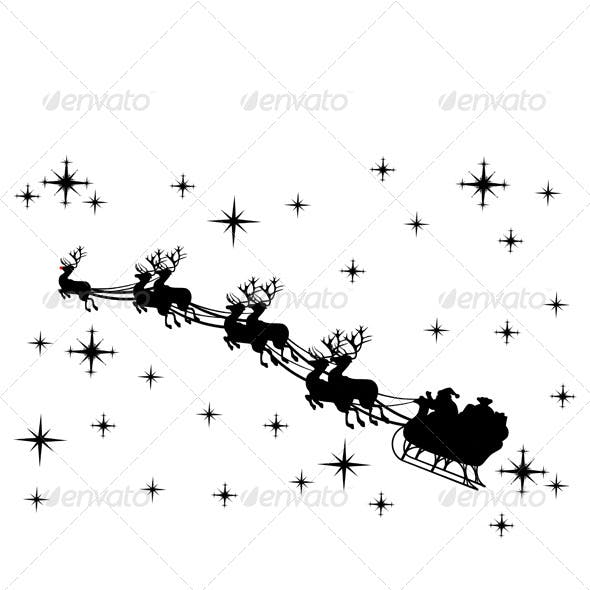 Santa Claus Driving in a Sled