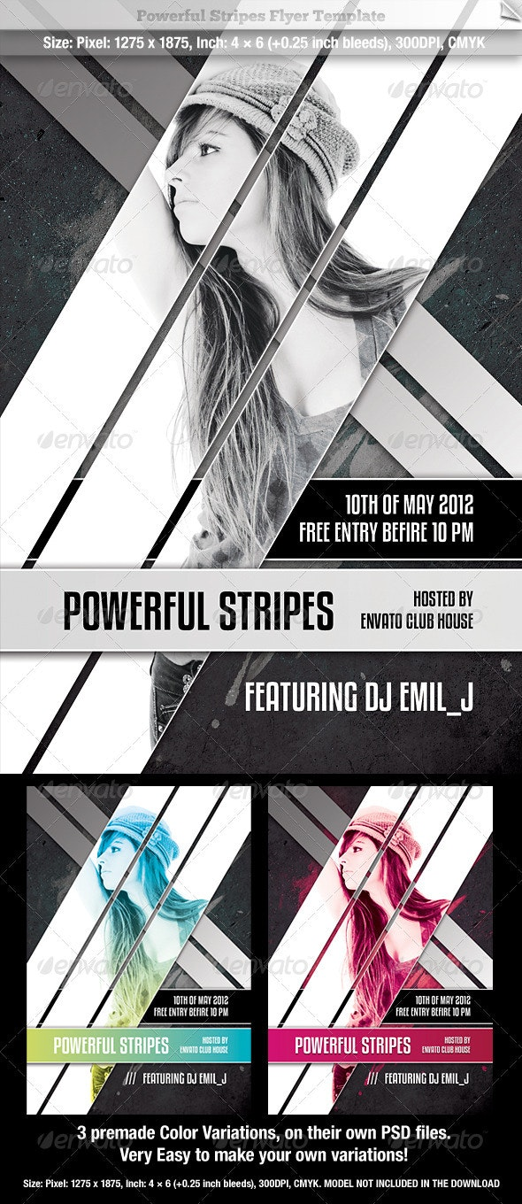 Powerful Stripes Flyer Template - Clubs & Parties Events