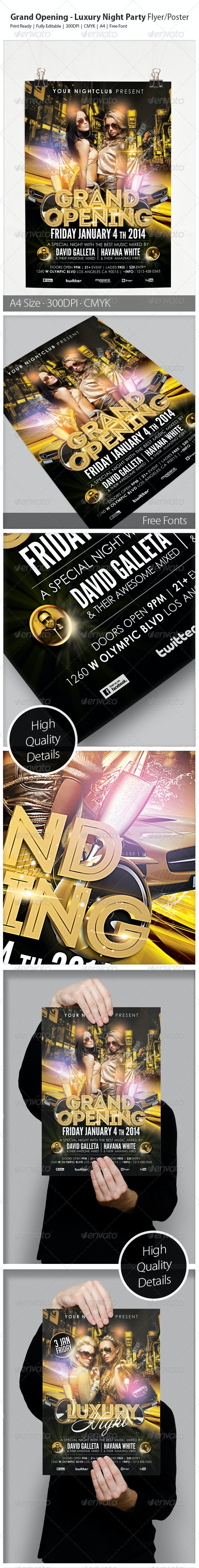 Grand Opening - Luxury Night Party Flyer/Poster - Clubs & Parties Events