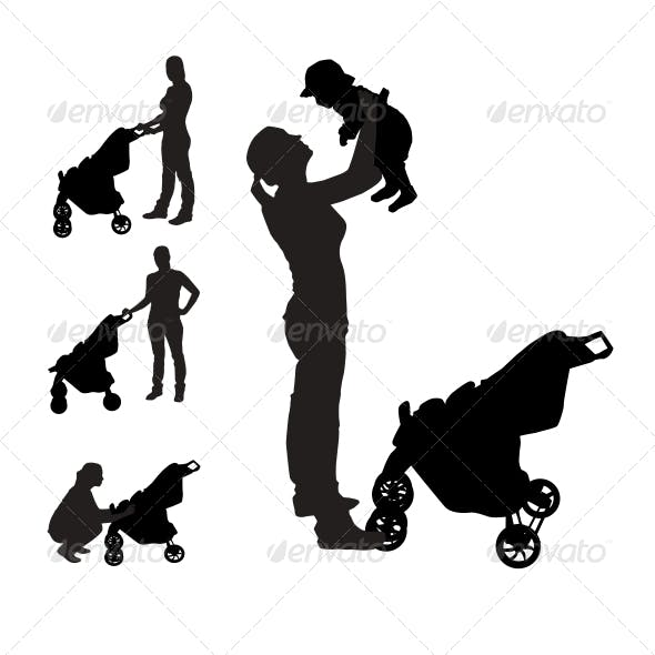 Mother with Pram Silhouettes