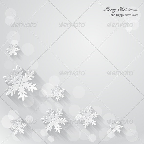 Christmas Background with Paper Snowflakes  - Christmas Seasons/Holidays