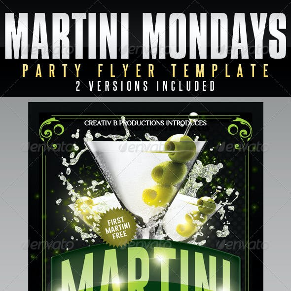Martini Mondays Party Flyer Template - UPDATED