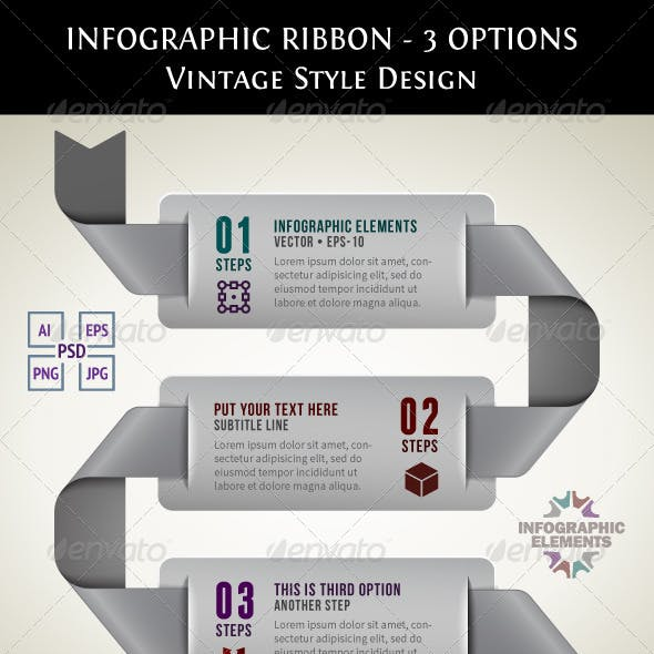 Vintage Infographic Ribbon with 3 Options