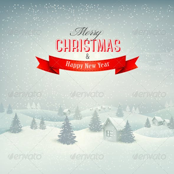Retro Holiday Christmas Background with Winter
