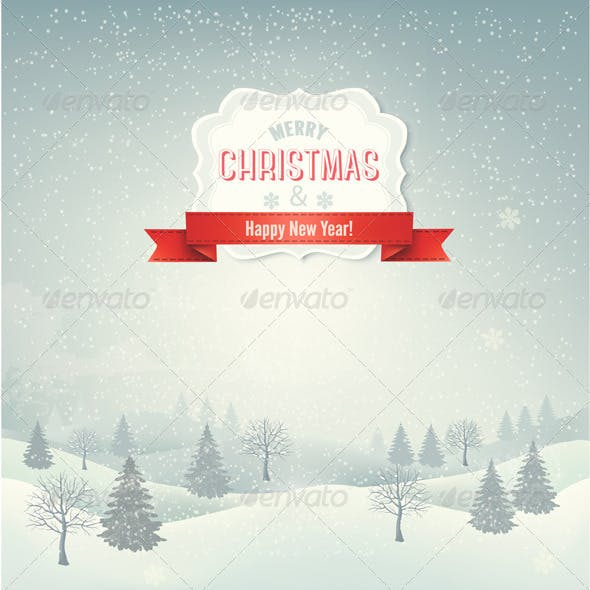 Christmas Winter Landscape Background