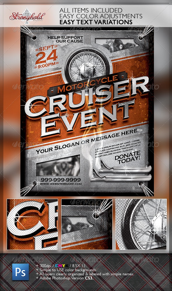 Vintage Motorcycle Cruiser Flyer - Events Flyers
