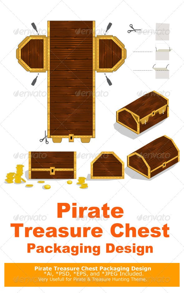 Treasure Chest Packaging Box Design Decorative Symbols