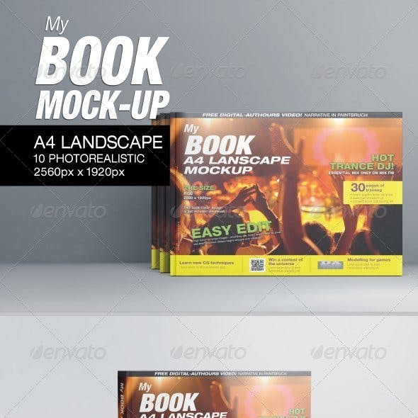 MyBook A4 Landscape Mock-Up