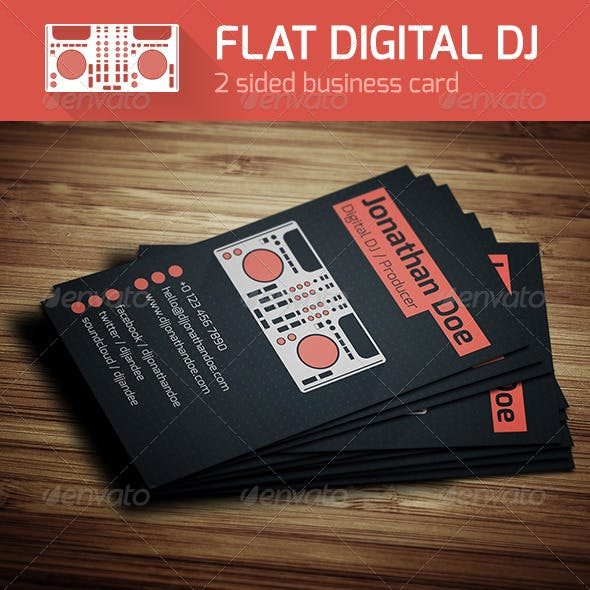 Flat Digital DJ Business Card