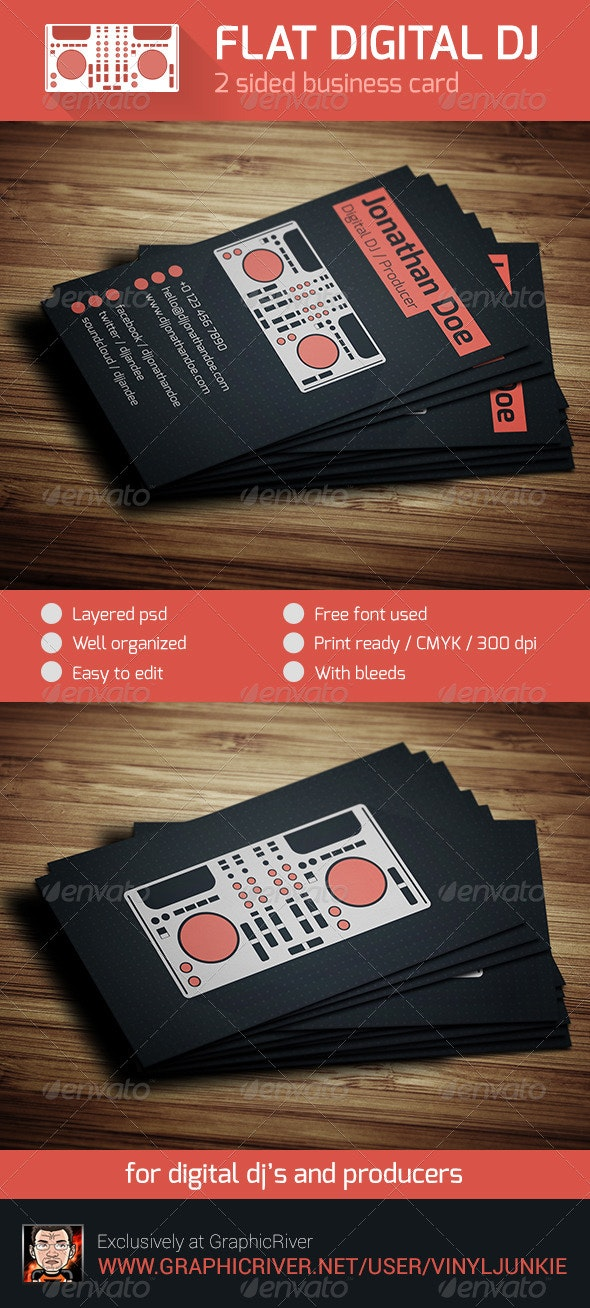 Flat Digital DJ Business Card - Industry Specific Business Cards