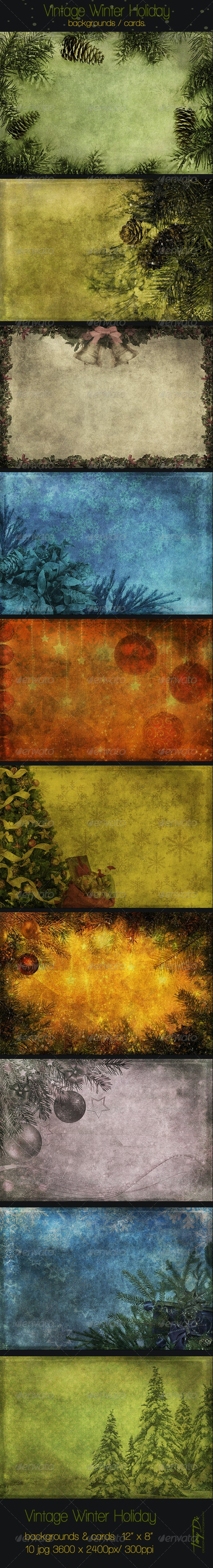 Vintage Winter Holiday Backgrounds - Miscellaneous Backgrounds