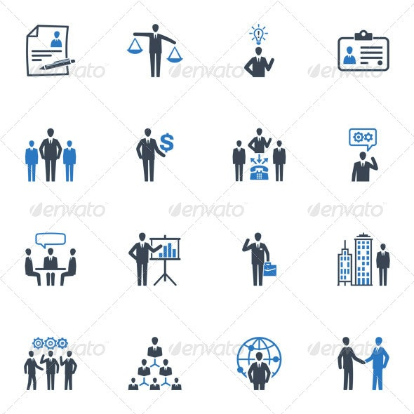 Management and Human Resource Icons - Blue Series - Web Icons
