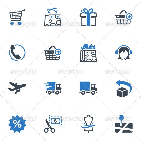 Shopping and E-commerce Icons Set 1 - Blue Series - Web Icons