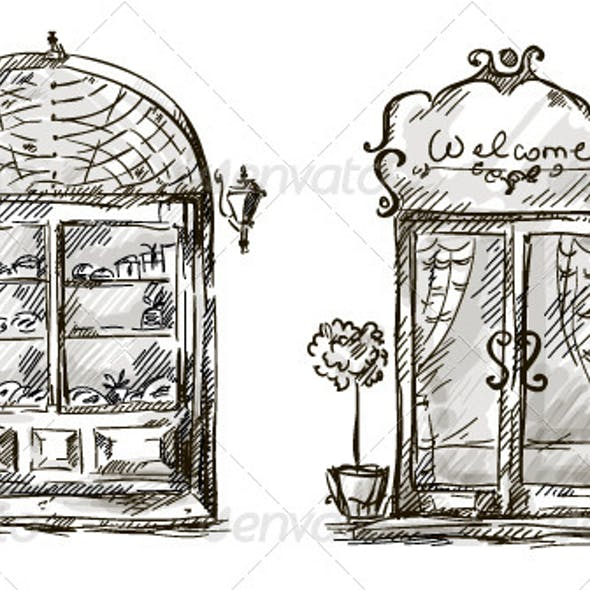 Retro Shop Window and Entrance Door Drawing