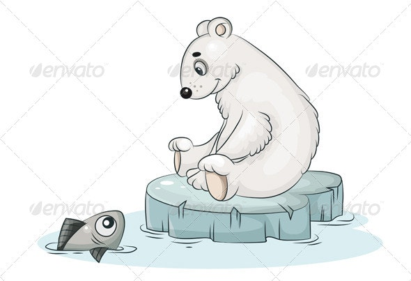 White Teddy Bear and Fish - Animals Characters