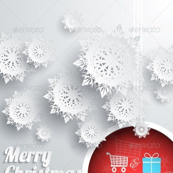 Merry Christmas Background with Snowflake and Ball