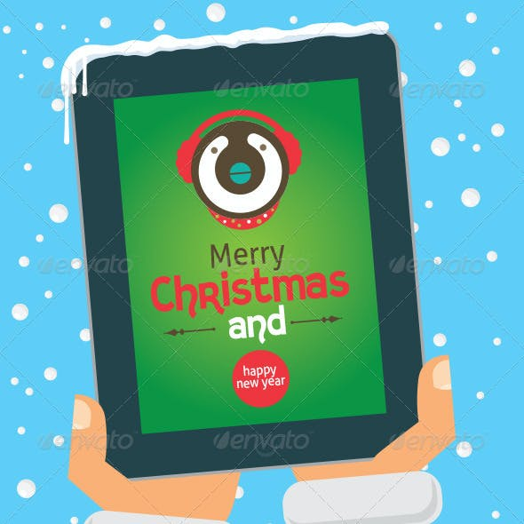 Vector Christmas Cards on Tablet and Phone