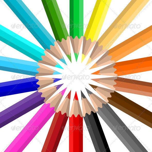 Coloured Pencil Crayons - Objects Vectors