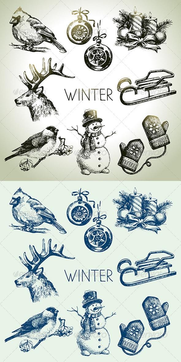 Winter Christmas Hand Drawn Set - Christmas Seasons/Holidays