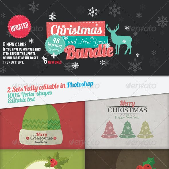 Christmas and New Year 54 Greeting Cards Bundle