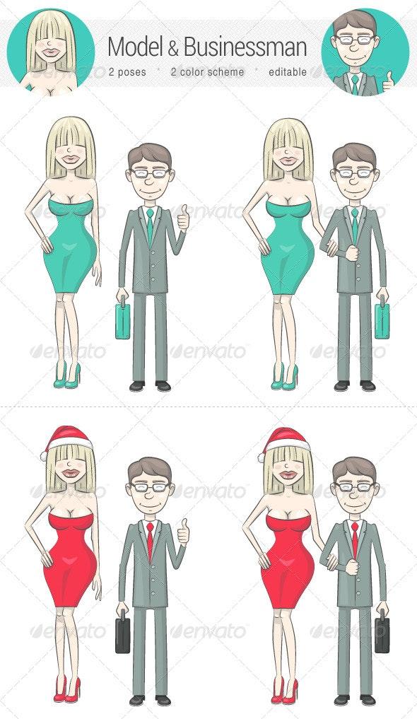 Model and Businessman - Characters Vectors