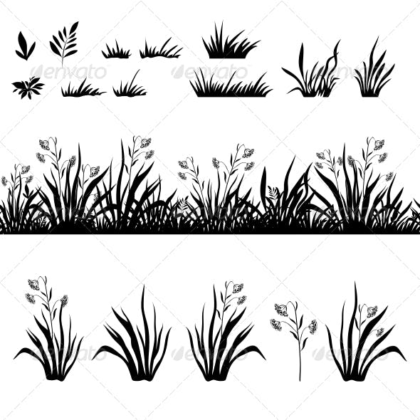 Flowers and Grass Silhouette Set