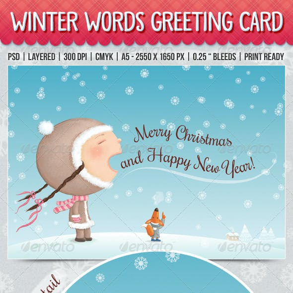 Winter Words Greeting Card